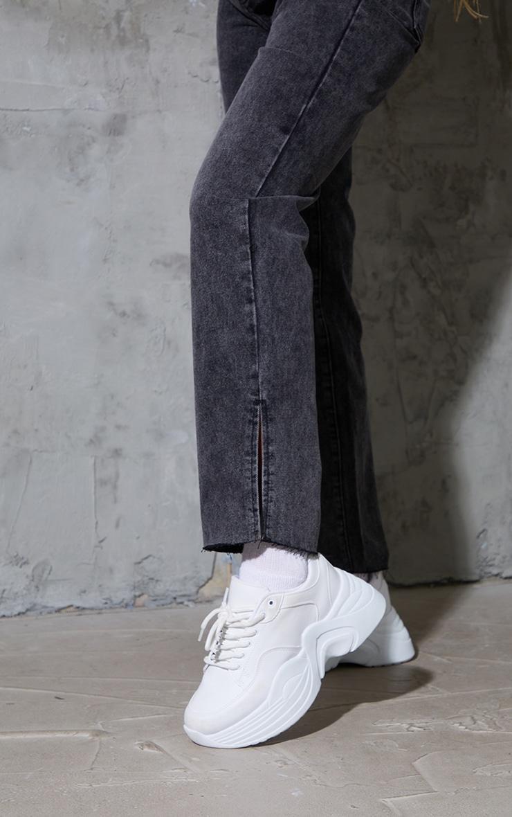 Black Acid Wash Raw Hem Split Hem Jeans 4