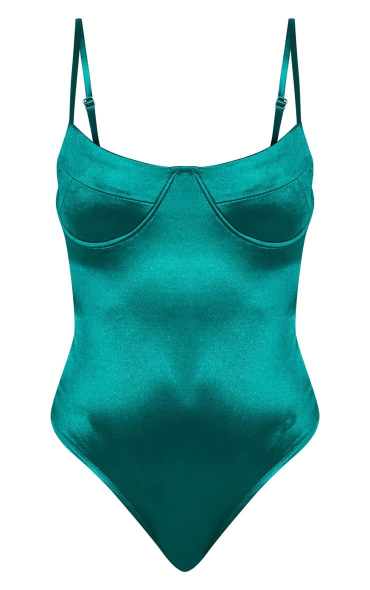 Body lingerie stretch satiné vert émeraude 7