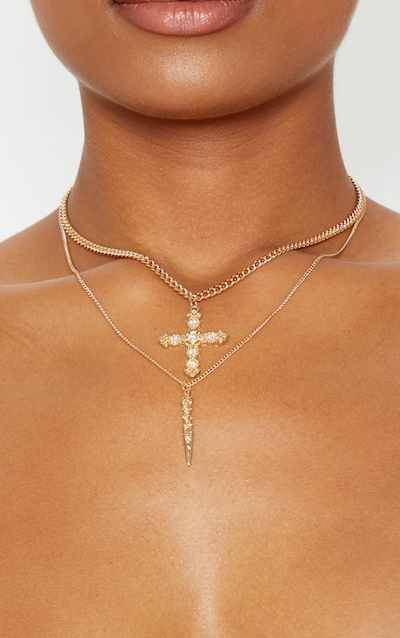 Gold Diamante Cross And Dagger Double Layering Necklace