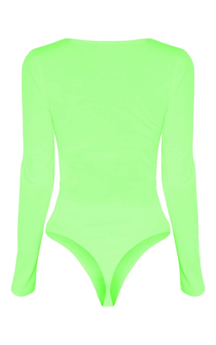 Tall Neon Lime Ribbed Scoop Neck Long Sleeve Bodysuit 6