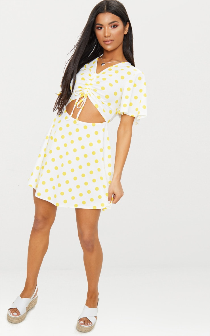 Yellow Polka Dot Cut Out Ruched Detail Swing Dress 4