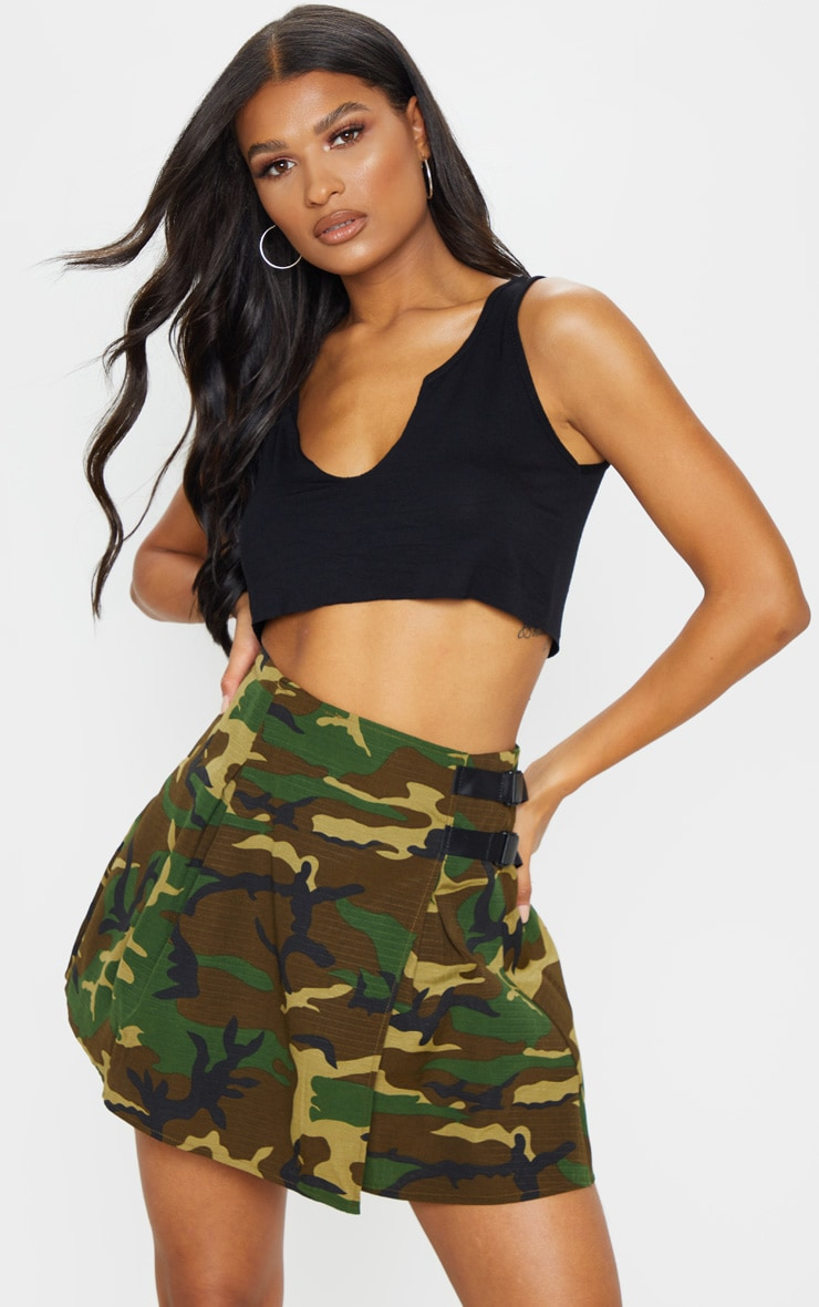 Khaki Camo Buckle Detail Tennis Skirt 1