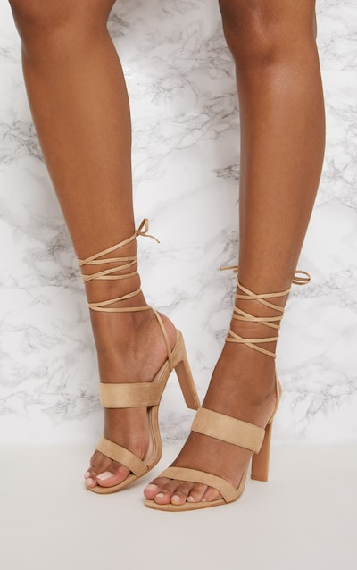 Nude Ankle Lace Up Mule Heel