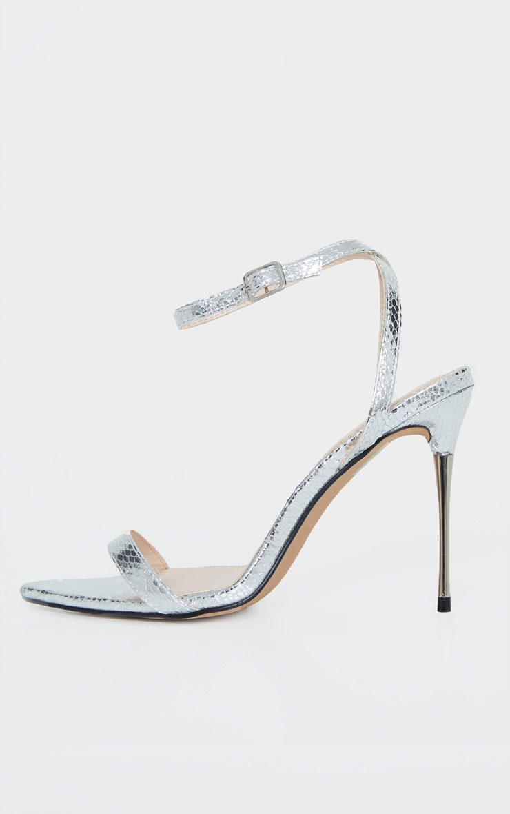 Silver Snake Pin Heel Pointed Toe Barely There Strappy Sandal 4