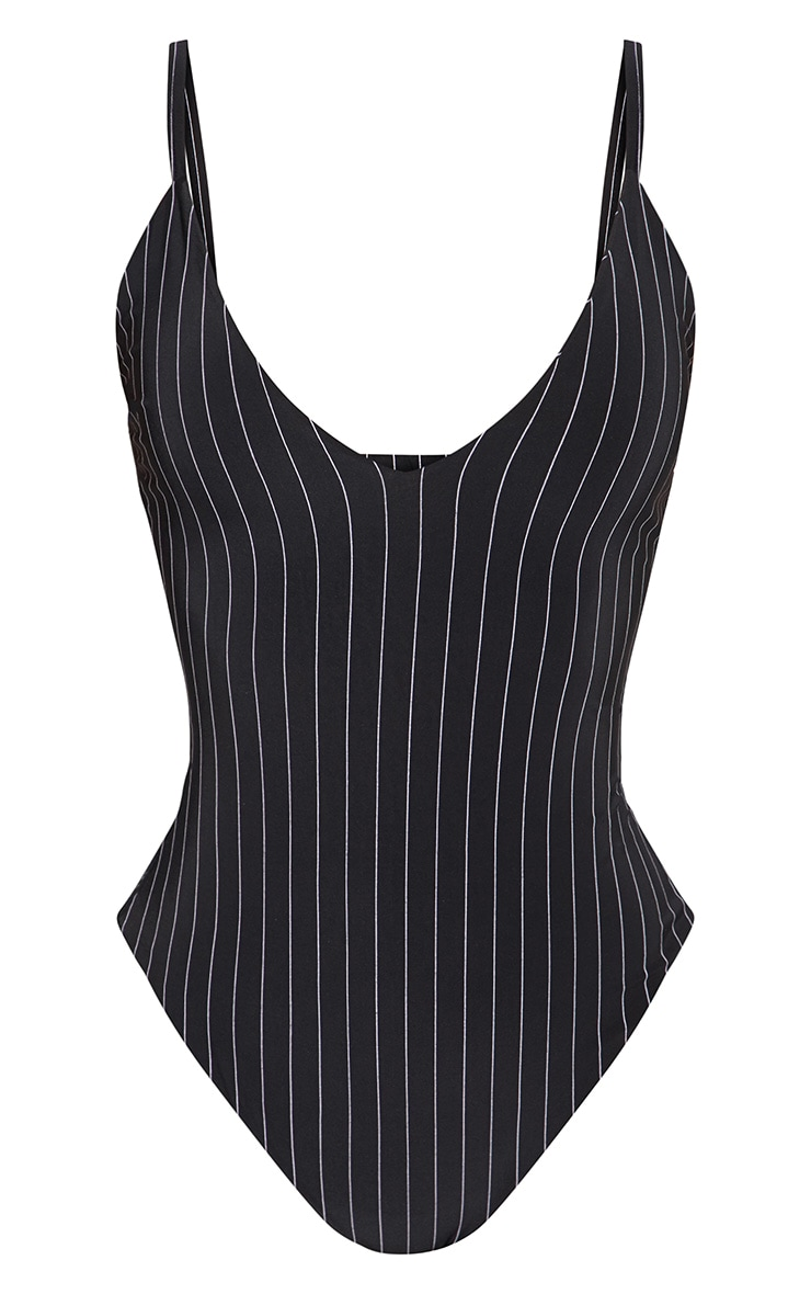 Shape Black Pinstripe Slinky Double Layer Bodysuit 3
