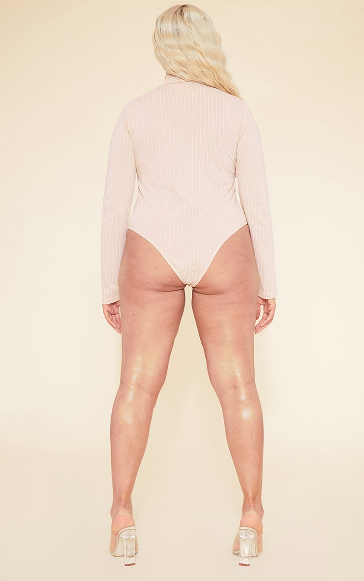 RECYCLED Plus Deep Nude Pinstripe Roll Neck Long Sleeve Bodysuit 6