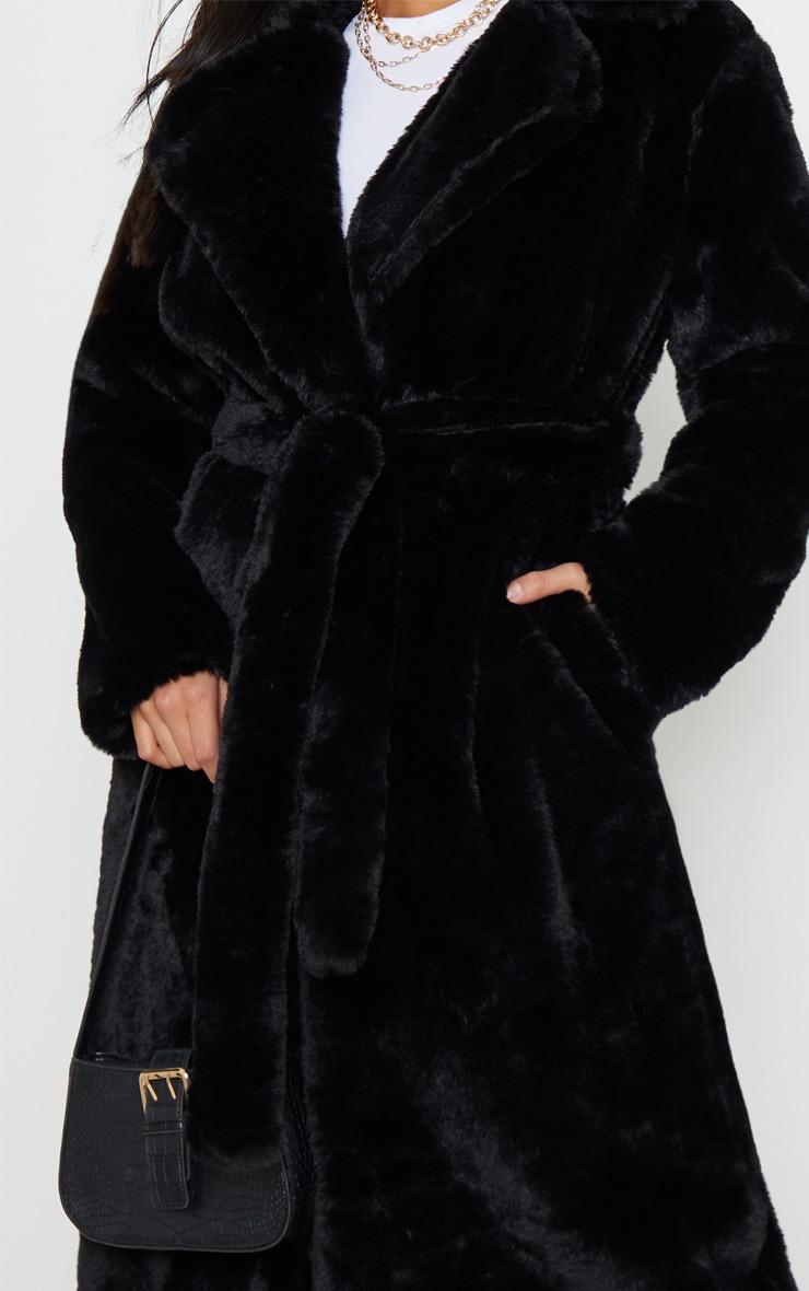 Petite Black Belted Faux Fur Coat 5