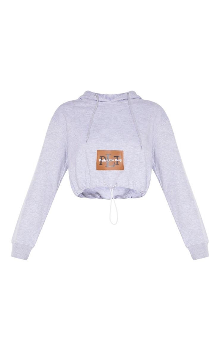 PRETTYLITTLETHING - Hoodie court gris à poche et cordons ajustables 3