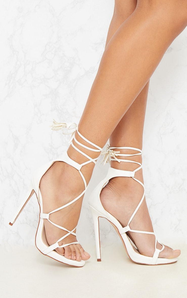 Rosaline White Tassel Lace Up Heels 1