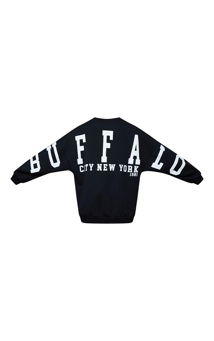 Petite Black Buffalo New York Slogan Sweater Dress 5