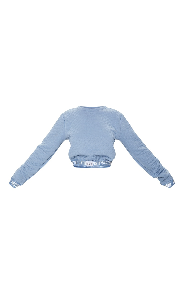 PRETTYLITTLETHING Blue Steel Tape Hem Waffle Crop Sweater 5