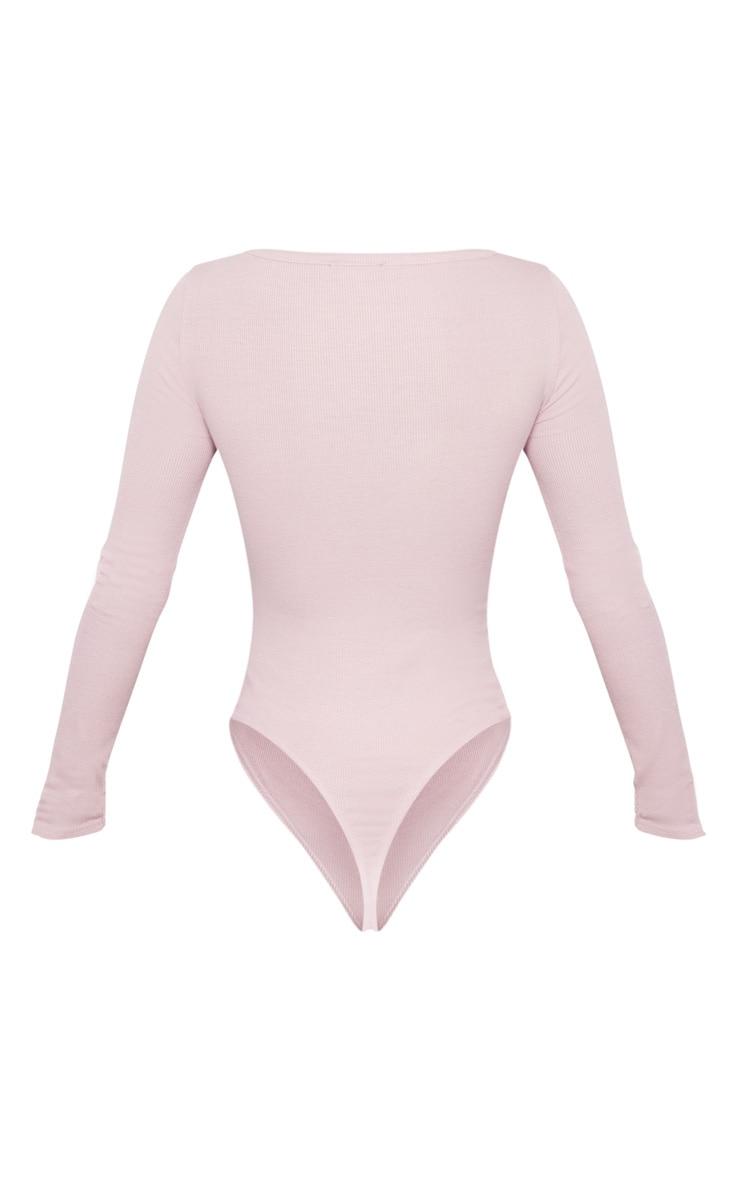 Dusty Lilac V Neck Rib Bodysuit 4