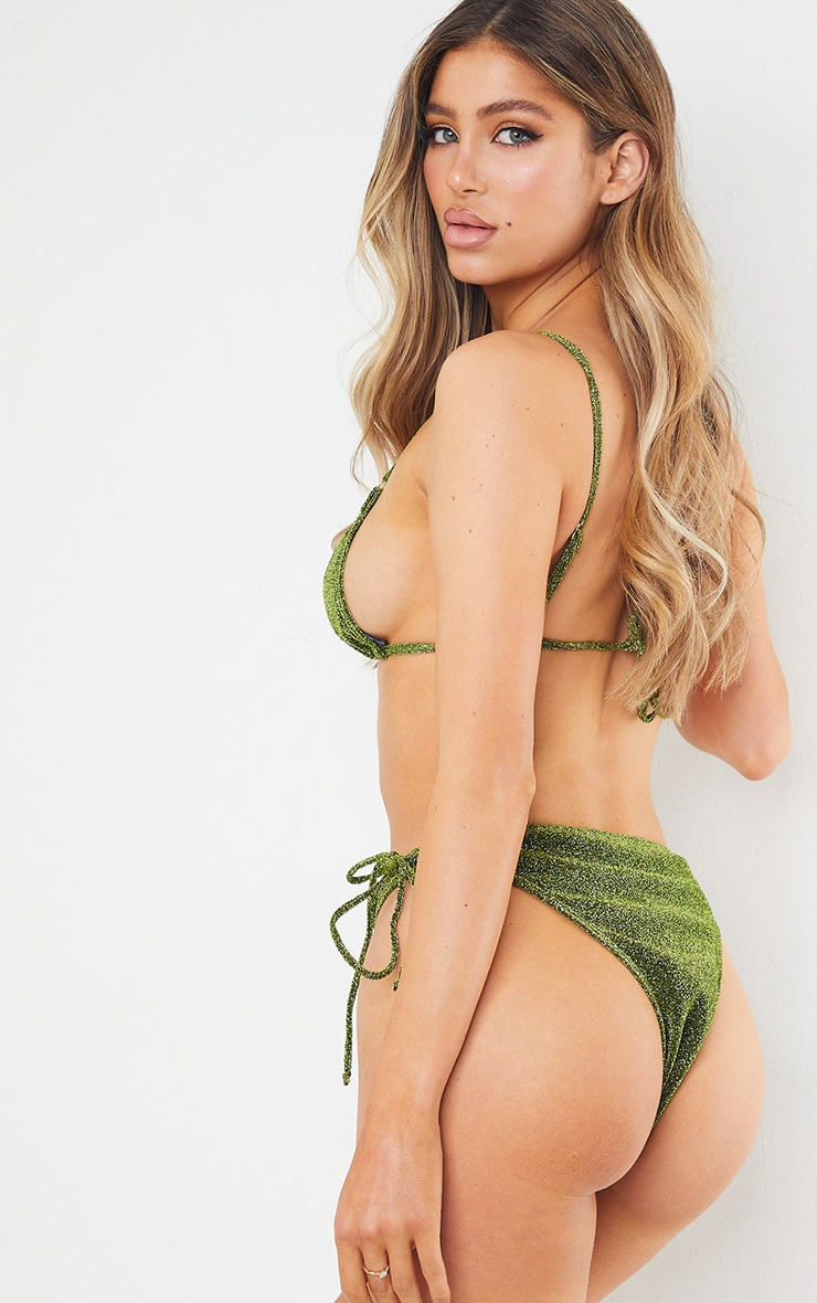 Green Glitter Triangle Cut Out Bikini Top 2