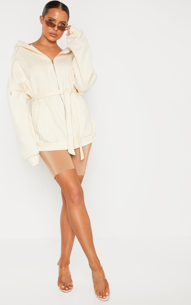 Cream Oversized Belted Sweat Hoodie 2