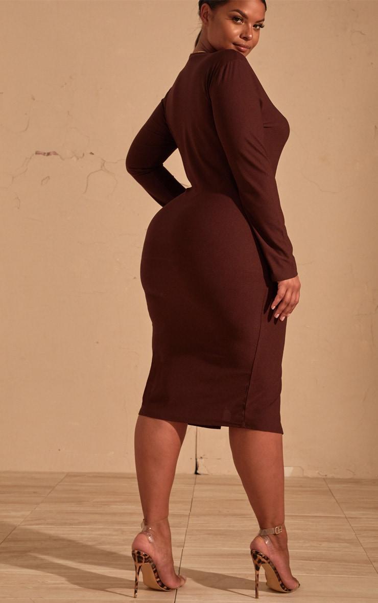 Plus Chocolate Brown Split Front Scoop Neck Midi Dress  2