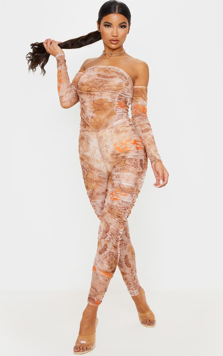 Nude Oriental Print Mesh Ruched Jumpsuit 4
