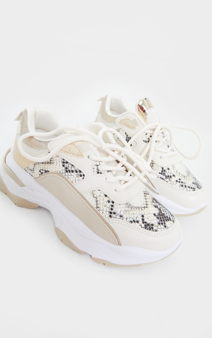 Natural Snake Contrast Chunky Sneakers 4