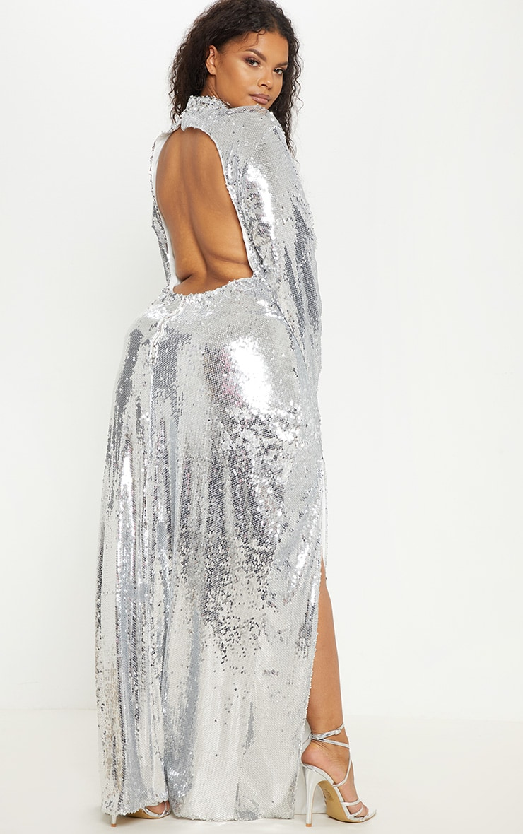 Plus Silver Sequin Backless Maxi Dress 2