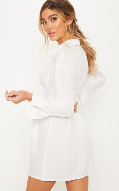 White Pleated Waist Detail Shirt Dress