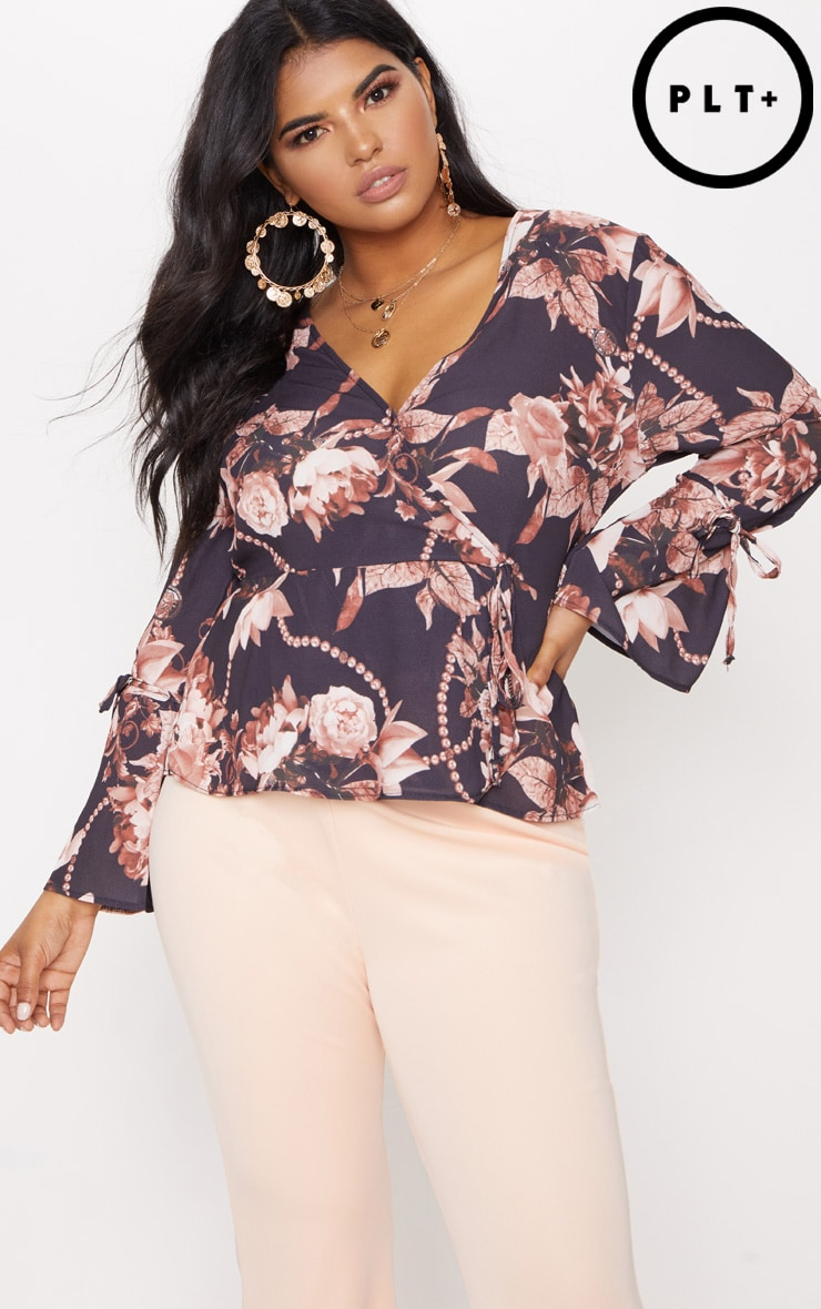 Plus Black Floral Plunge Wrap Top 1