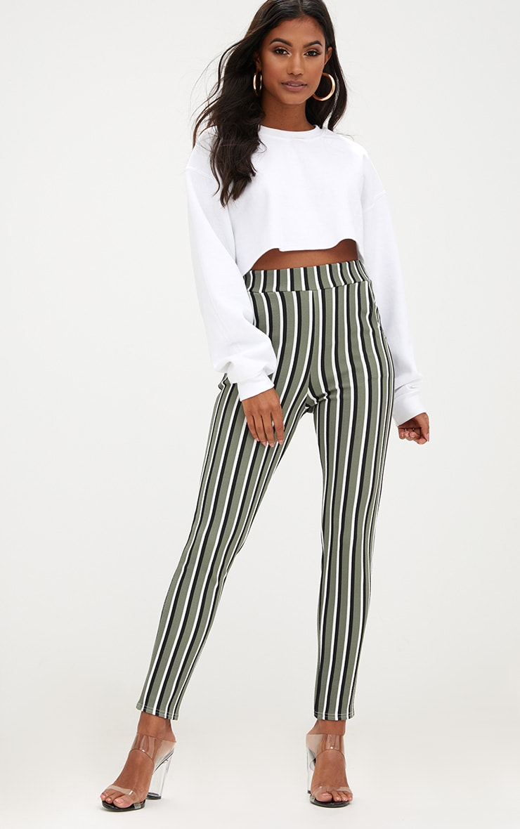 Khaki Vertical Stripe Skinny Trousers 1