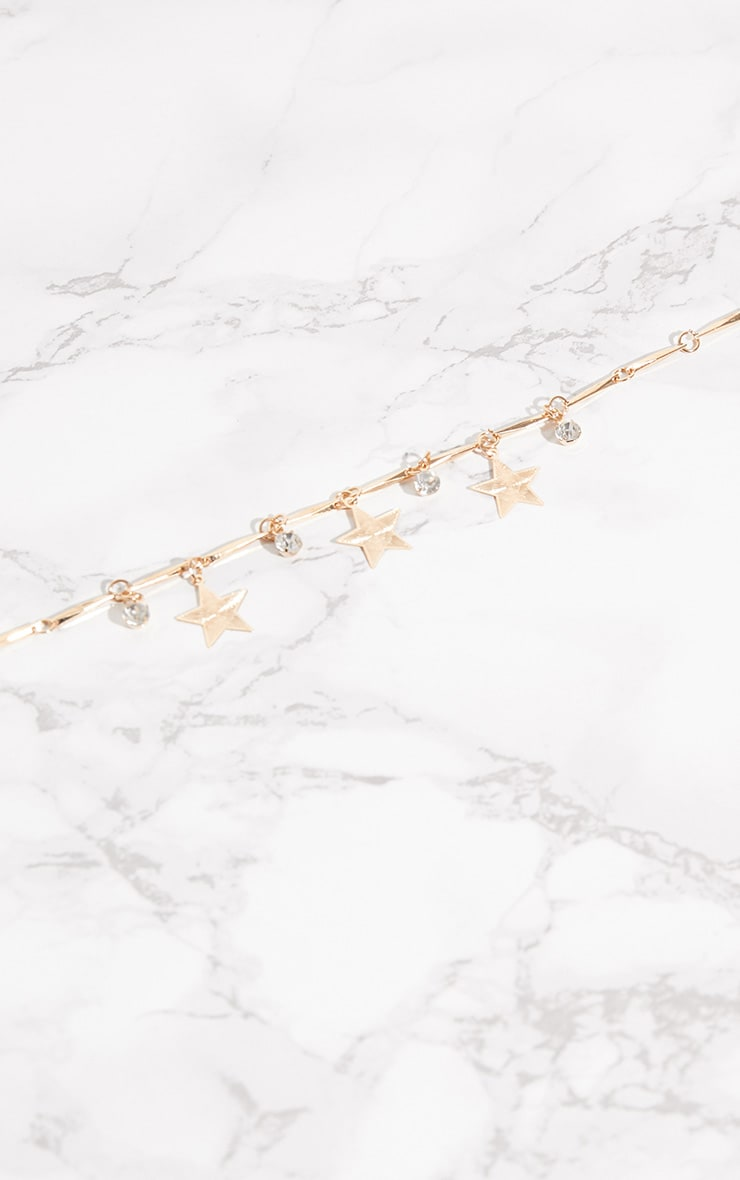 Gold Star Diamante Anklet 1