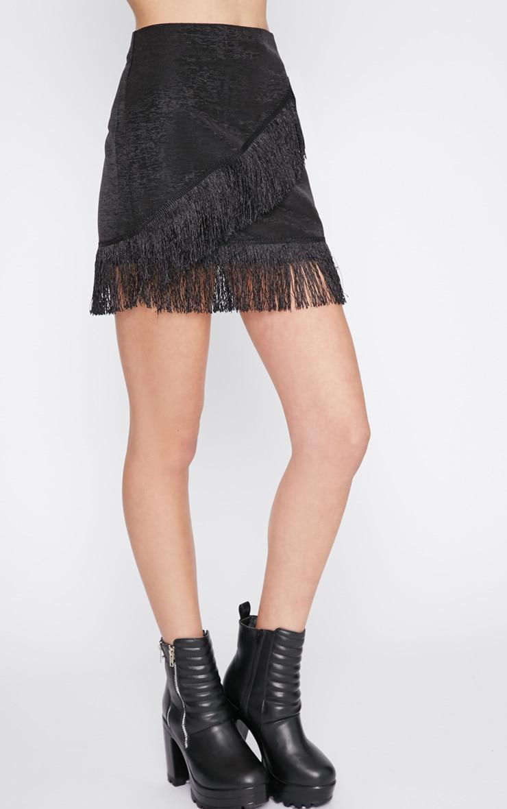 Yasmine Black Tassel Mini Skirt -XS 6