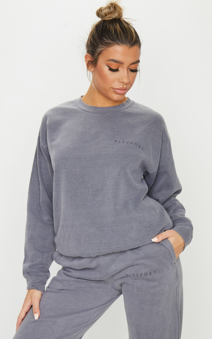 PRETTYLITTLETHING Charcoal Sports Sweater 1