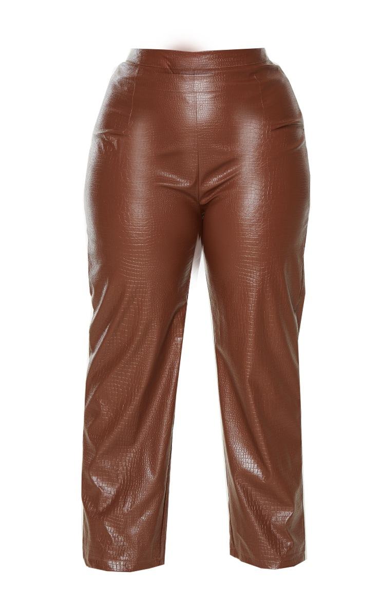 Plus Brown Croc PU Embossed Pants 5