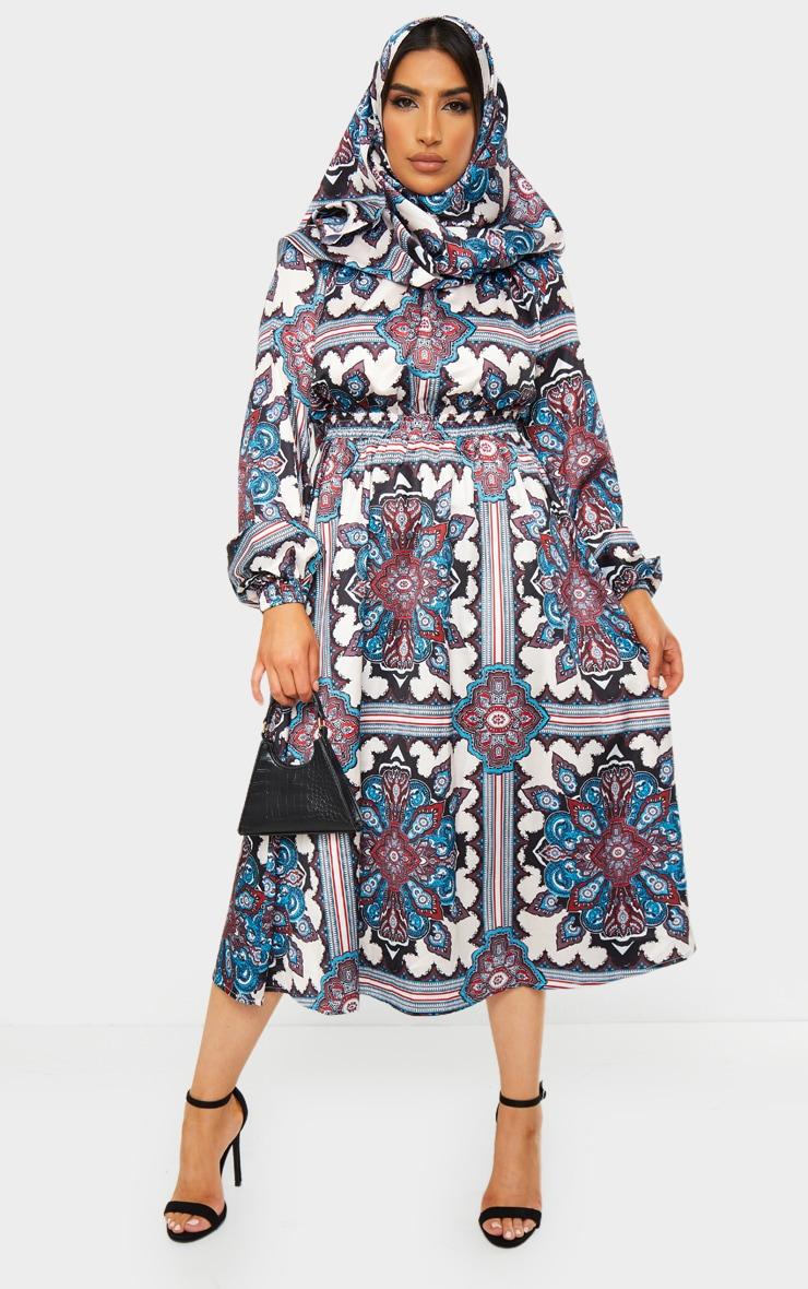 Blue Paisley Print Crew Neck Elastic Waist Midi Dress 1