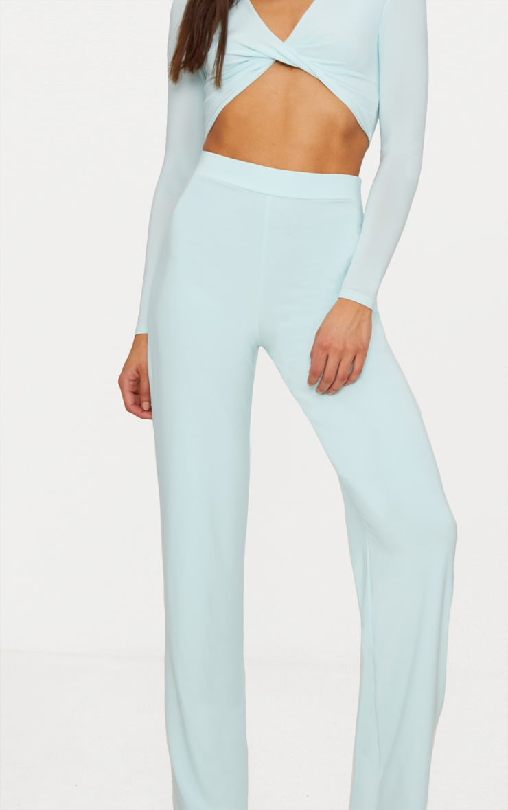 Petite Mint Slinky Straight Leg Trousers 4