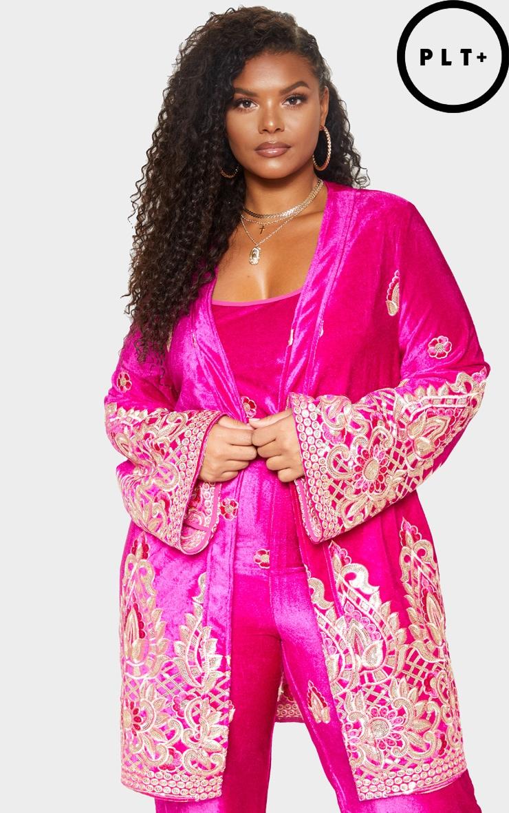 Plus Fuchsia Velvet Paisley Embroidered Kimono 2