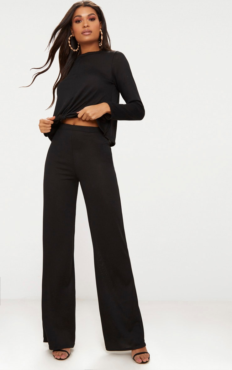 Black Knitted Wide Leg Co ord Set 4