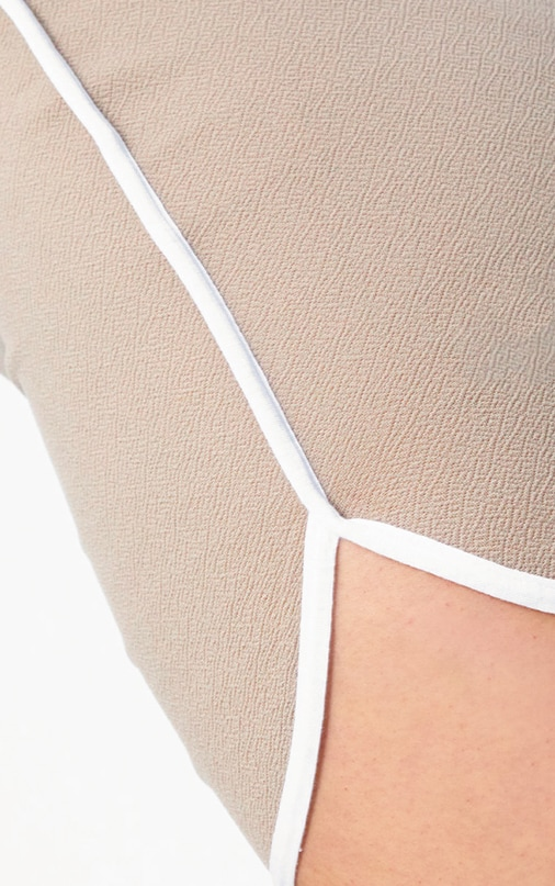 Taupe Contrast Binding Runner Mini Skirt 6
