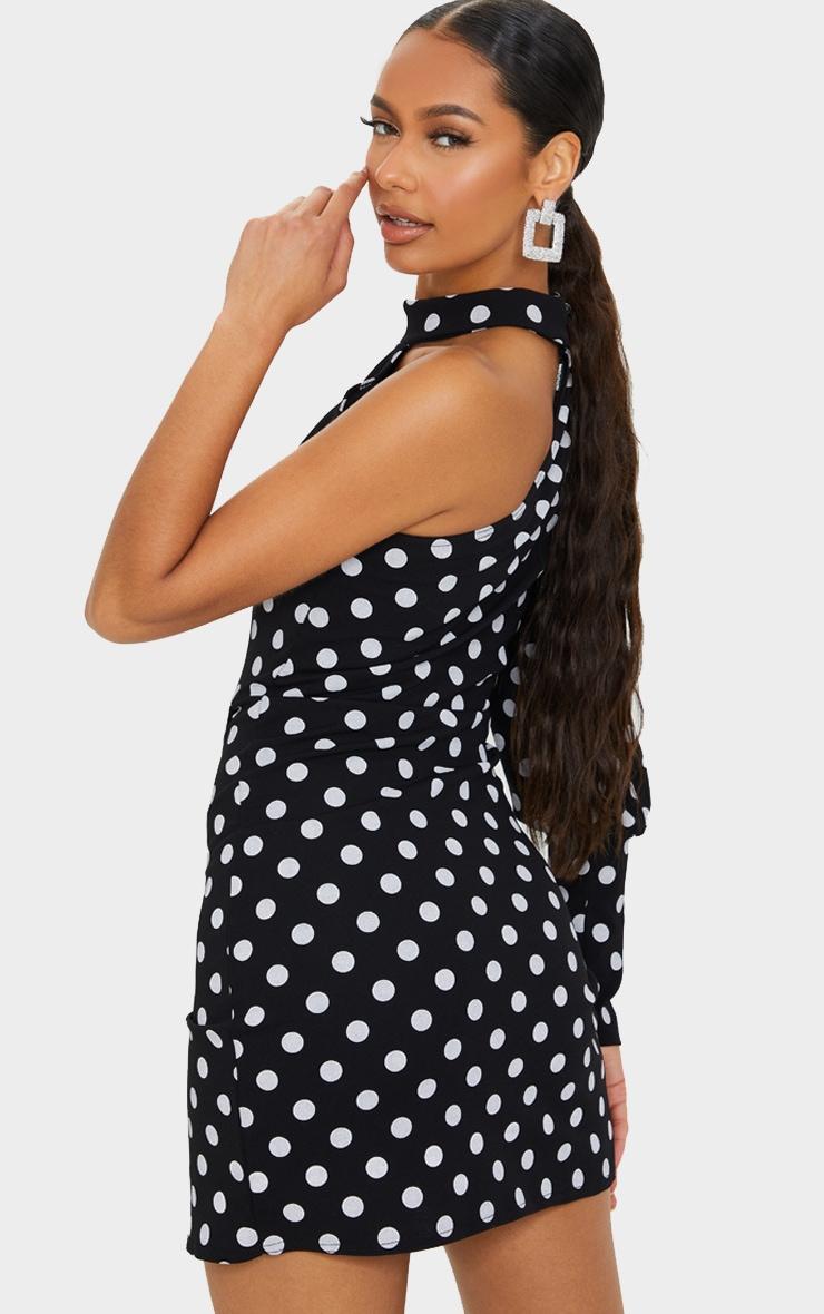 Black Polka Dot One Shoulder Puff Sleeve Wrap Skirt Bodycon Dress 2