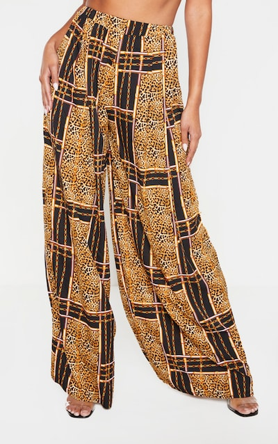 Chain Print Wide Leg Trouser