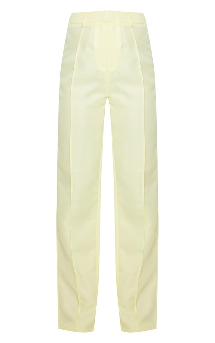Pale Yellow Anala High Waisted Straight Leg Pants 5