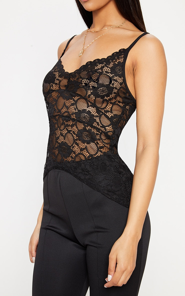Black Sheer Lace Cami Top  4