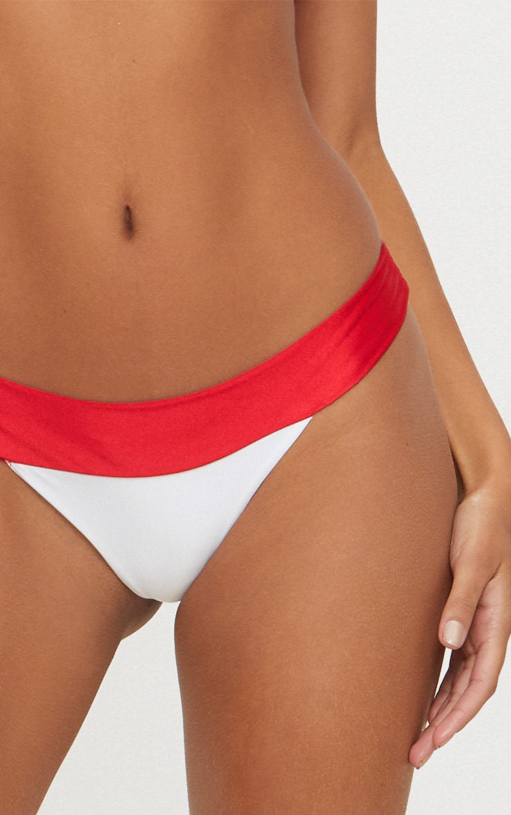 White and Red Mini Triangle Contrast Bikini Top 5