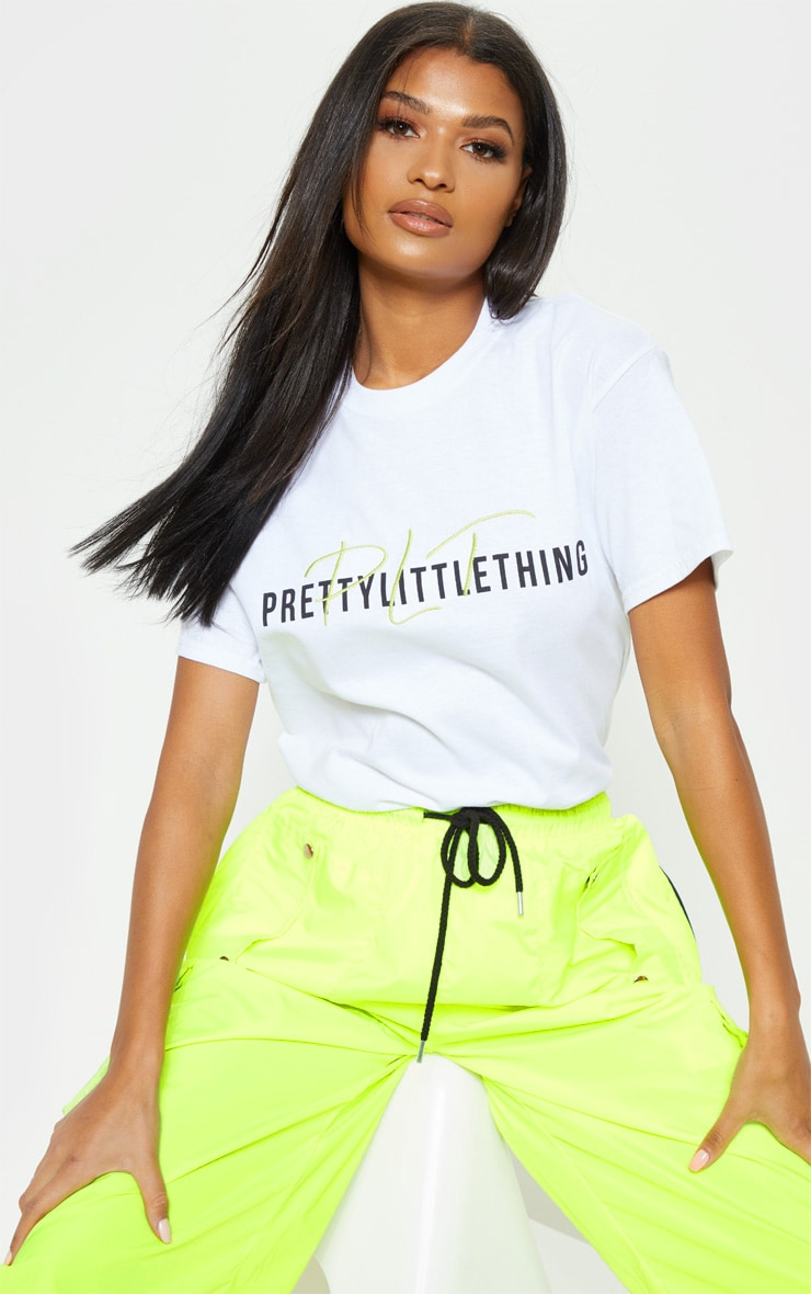PRETTYLITTLETHING White Print Oversized T Shirt 5