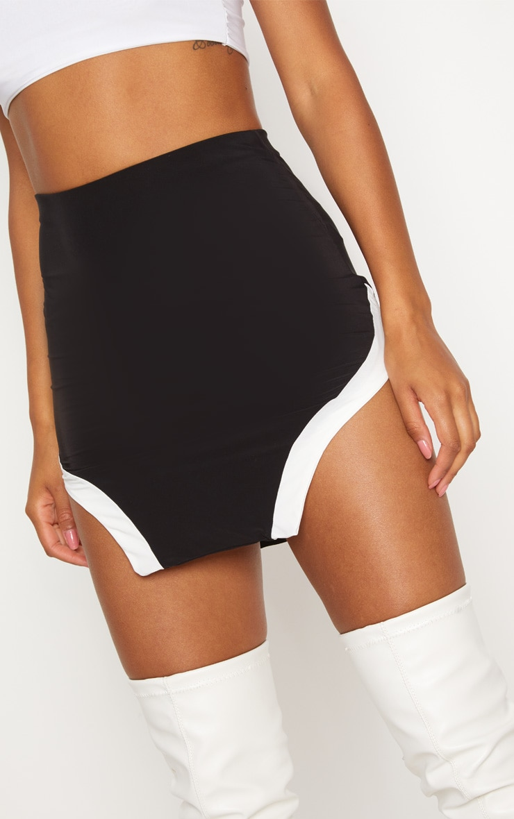 Black Slinky Cut Out Hem Mini Skirt 6