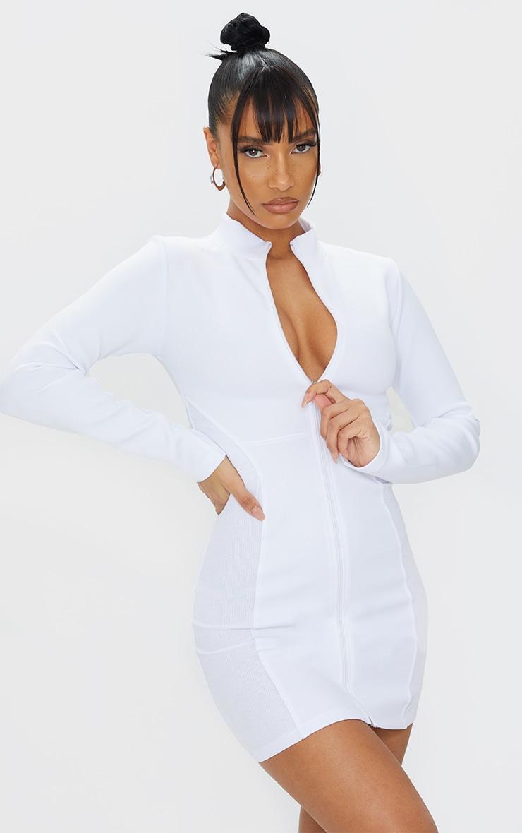 White Scuba Rib Contrast Zip Through Bodycon Dress 1