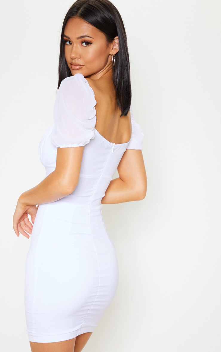 White Eyelet Lace Up Lace Strappy Bodycon Dress
