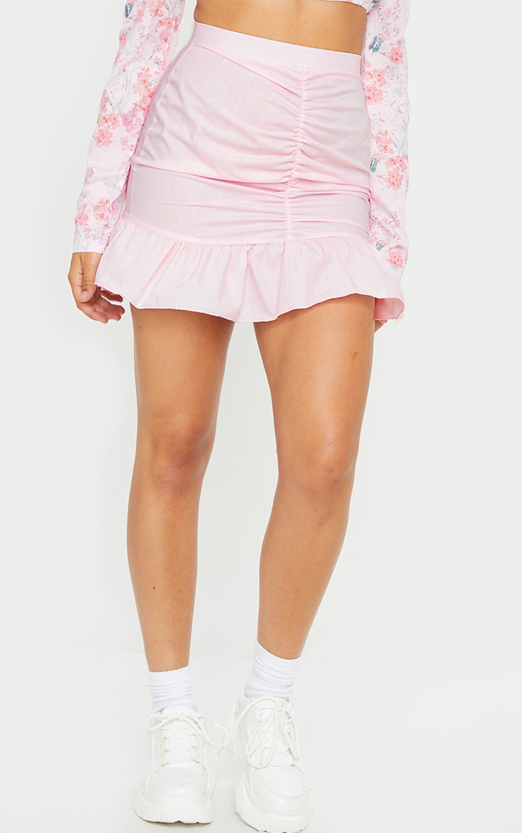 Pink Woven Ruched Frill Hem Mini Skirt 2