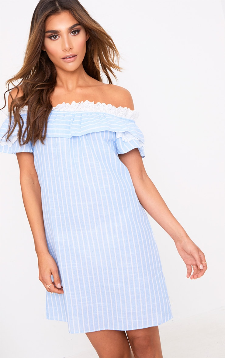 Blue Stripe Broderie Bardot Shift Dress 1