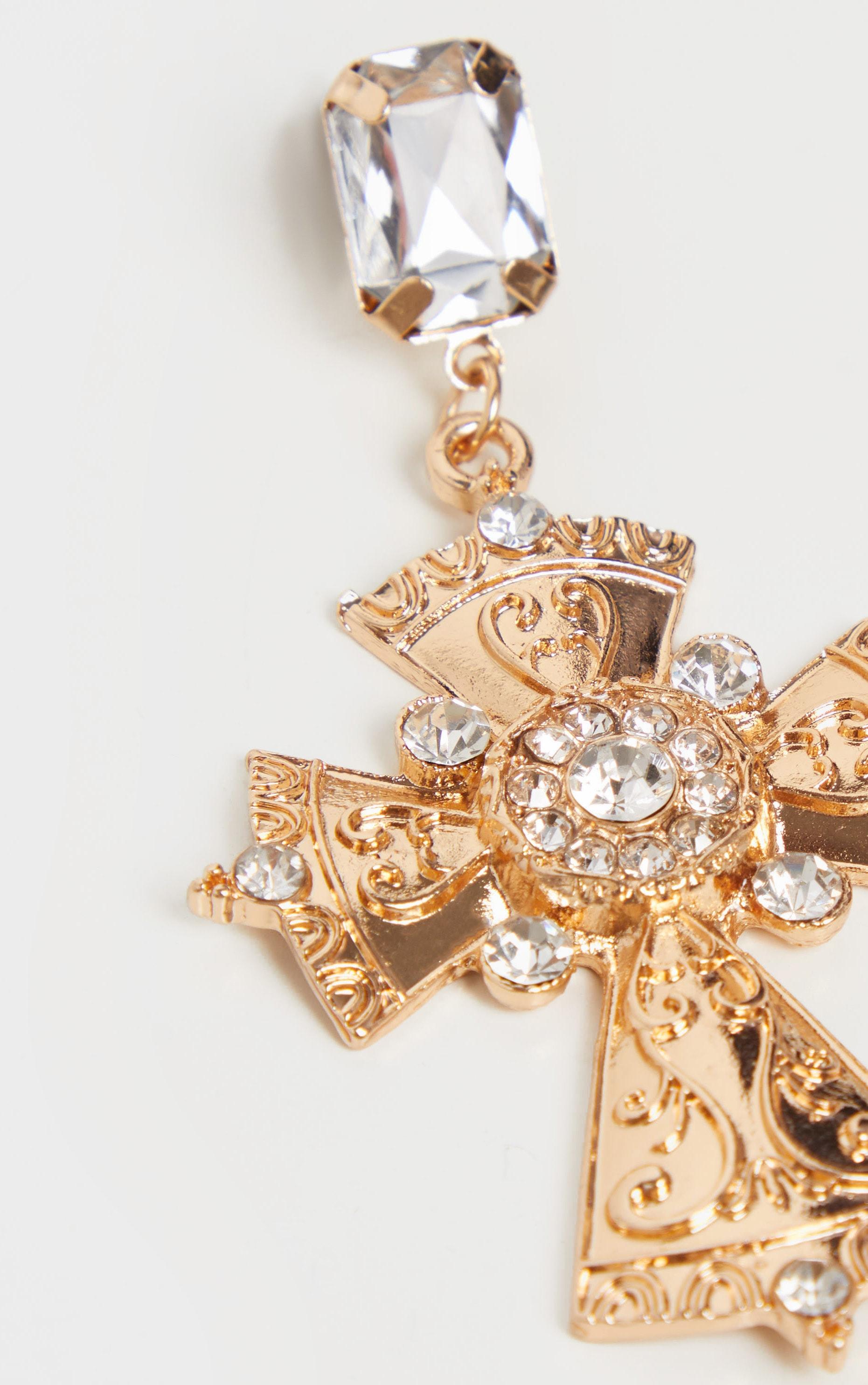 Gold Crystal Drop Cross Earrings 4