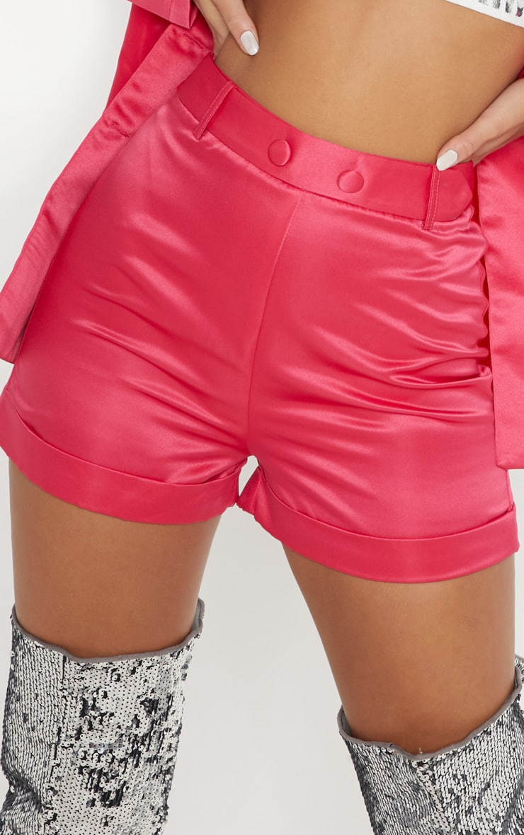 Hot Pink Satin Suit Shorts 6