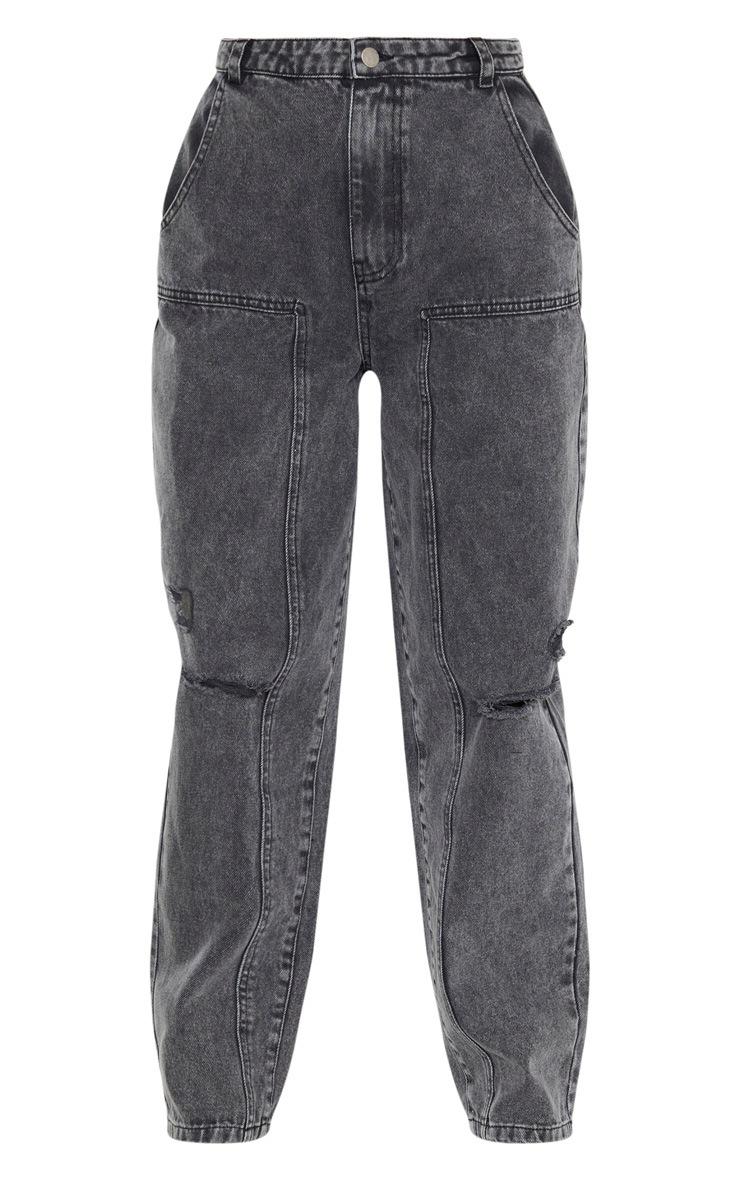 Washed Grey Baggy Cargo Boyfriend Jeans  3