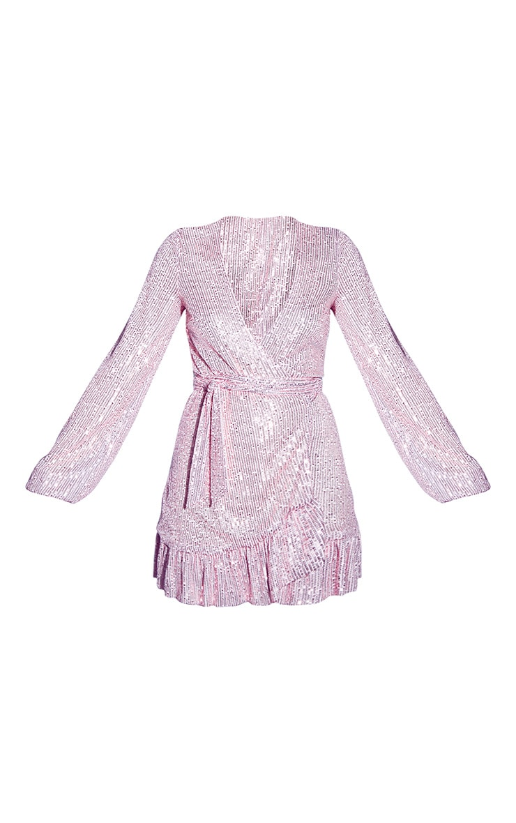 Rose Gold Sequin Wrap Frill Hem Mini Dress 5