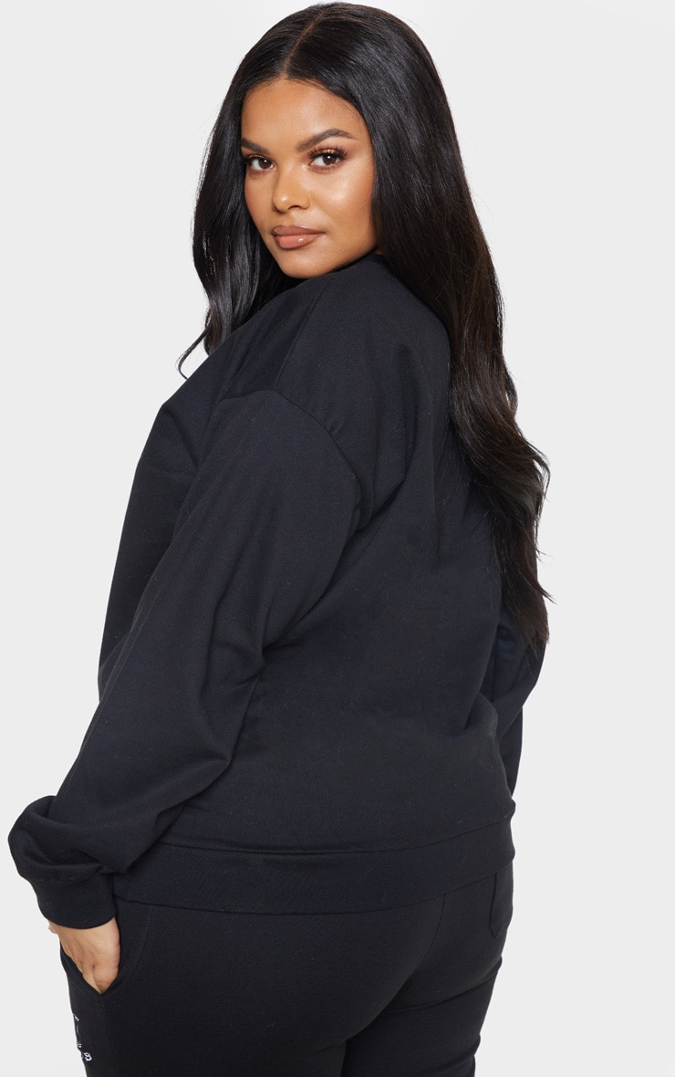 PRETTYLITTLETHING Plus Black Embroidered Oversized Sweatshirt 2